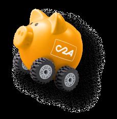 Mascotte C2A Card en forme de cochon en forme de tirelire avec quatre roues